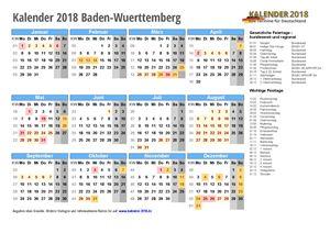 Kalender 2018 Baden-Wuerttemberg Schulferien