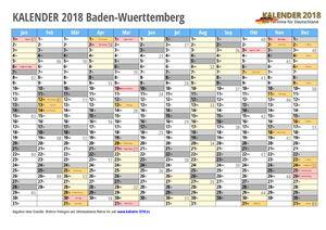 Kalender 2018 Baden-Wuerttemberg Monate mit Schulferien
