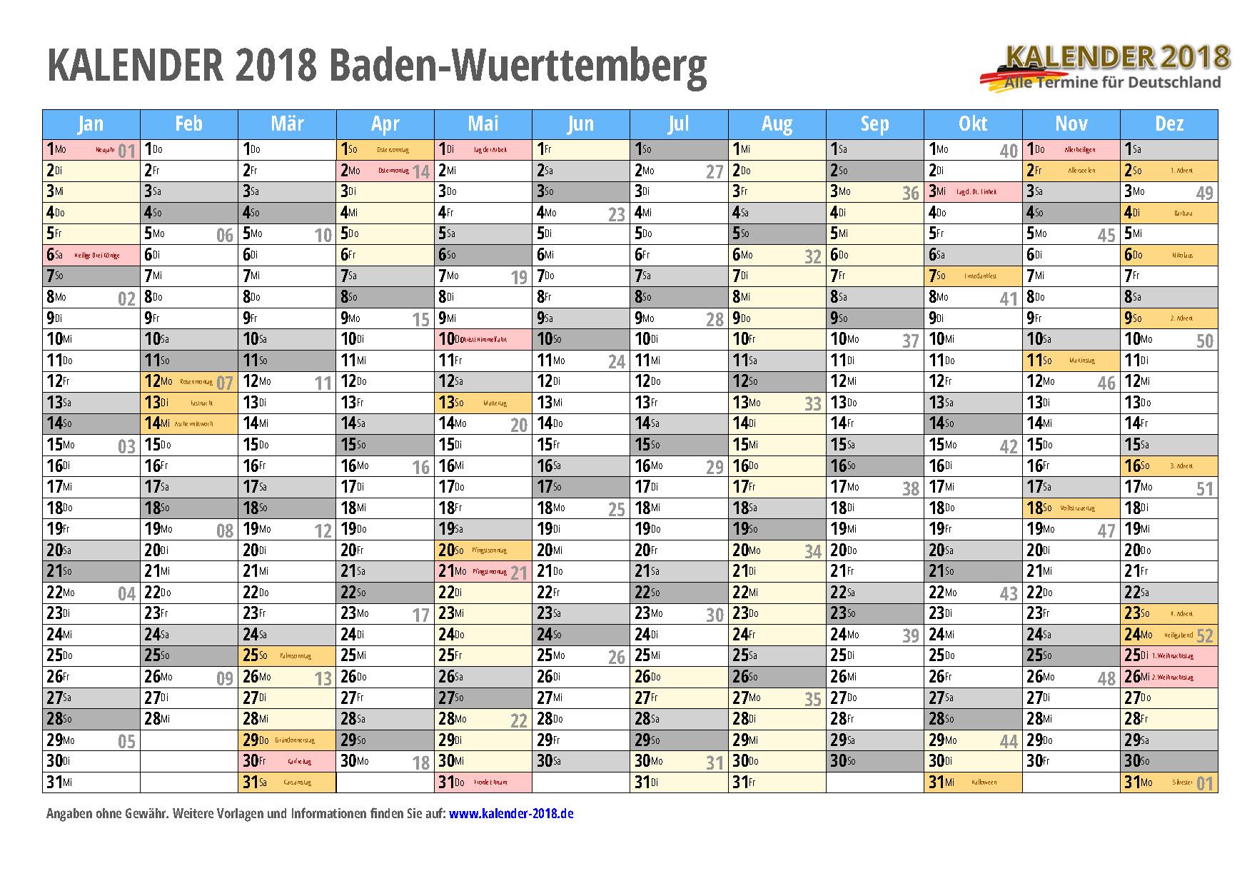 Kalender 2018 Baden Wurttemberg Zum Ausdrucken Kalender 2018
