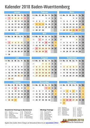 Kalender 2018 Baden-Wuerttemberg Hochformat mit Schulferien