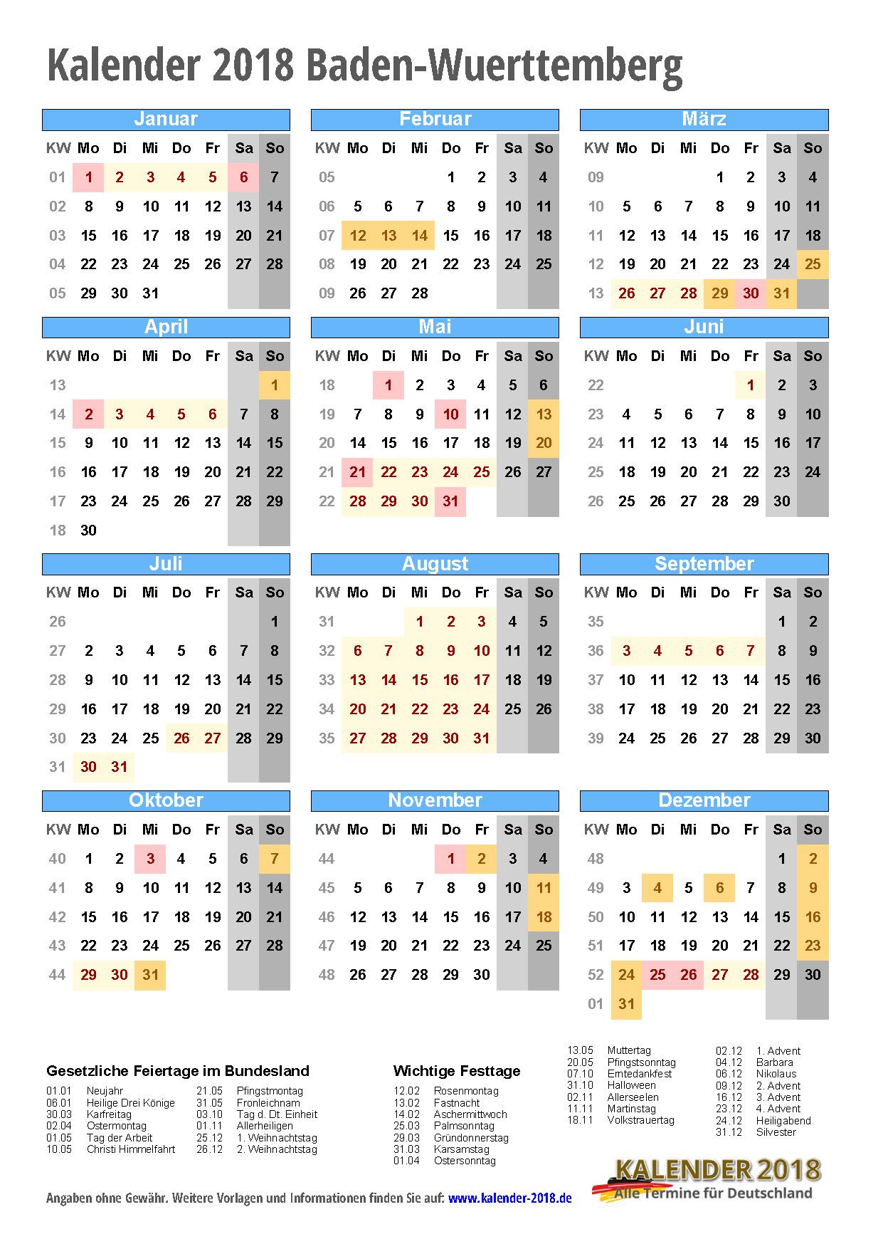 kalender 2018 baden w rttemberg zum ausdrucken kalender 2018. Black Bedroom Furniture Sets. Home Design Ideas
