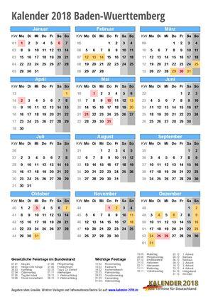 Kalender 2018 Baden-Wuerttemberg Hochformat