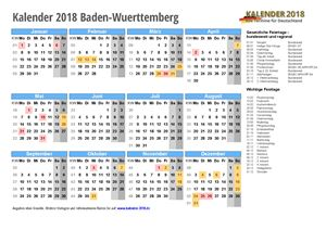 Kalender 2018 Baden-Wuerttemberg