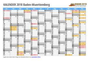 Kalender 2018 Baden-Wuerttemberg Monate