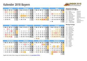 Kalender 2018 Bayern Schulferien