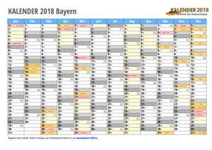 Kalender 2018 Bayern Monate mit Schulferien