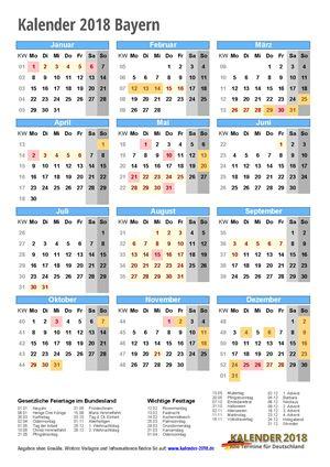 Kalender 2018 Bayern Hochformat mit Schulferien