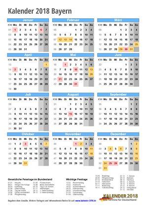 Kalender 2018 Bayern Hochformat