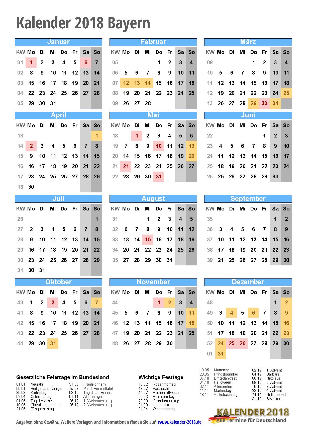 kalender 2018 bayern zum ausdrucken kalender 2018. Black Bedroom Furniture Sets. Home Design Ideas