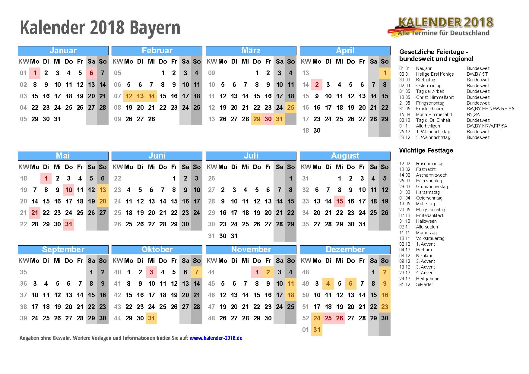 Kalender 2018 Bayern zum Ausdrucken « KALENDER 2018