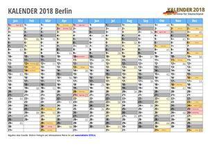 Kalender 2018 Berlin Monate mit Schulferien