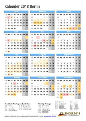 Kalender 2018 Berlin Hochformat mit Schulferien