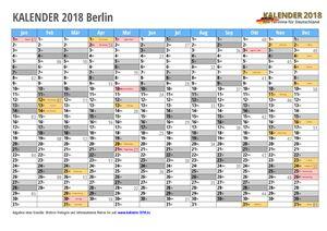 Kalender 2018 Berlin Monate