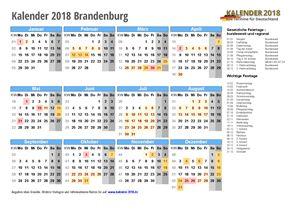 Kalender 2018 Brandenburg Schulferien