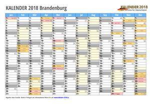 Kalender 2018 Brandenburg Monate mit Schulferien