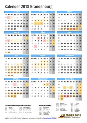 Kalender 2018 Brandenburg Hochformat mit Schulferien