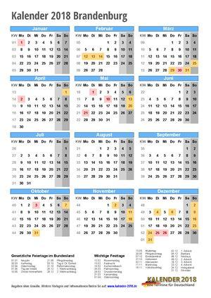 Kalender 2018 Brandenburg Hochformat