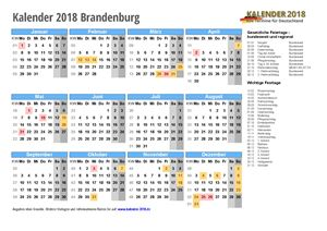 Kalender 2018 Brandenburg