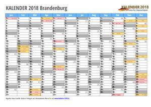 Kalender 2018 Brandenburg Monate