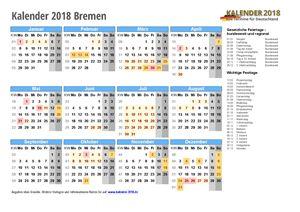 Kalender 2018 Bremen Schulferien