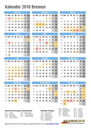 Kalender 2018 Bremen Hochformat mit Schulferien