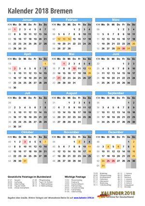 Kalender 2018 Bremen Hochformat