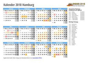 Kalender 2018 Hamburg Schulferien