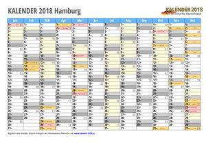 Kalender 2018 Hamburg Monate mit Schulferien