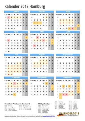 Kalender 2018 Hamburg Hochformat mit Schulferien