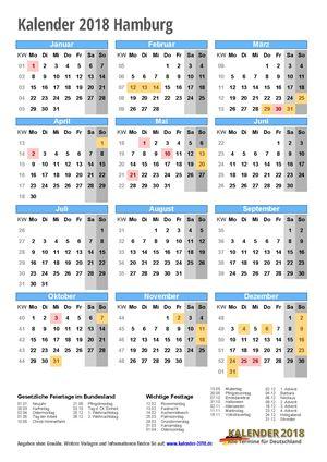 Kalender 2018 Hamburg Hochformat