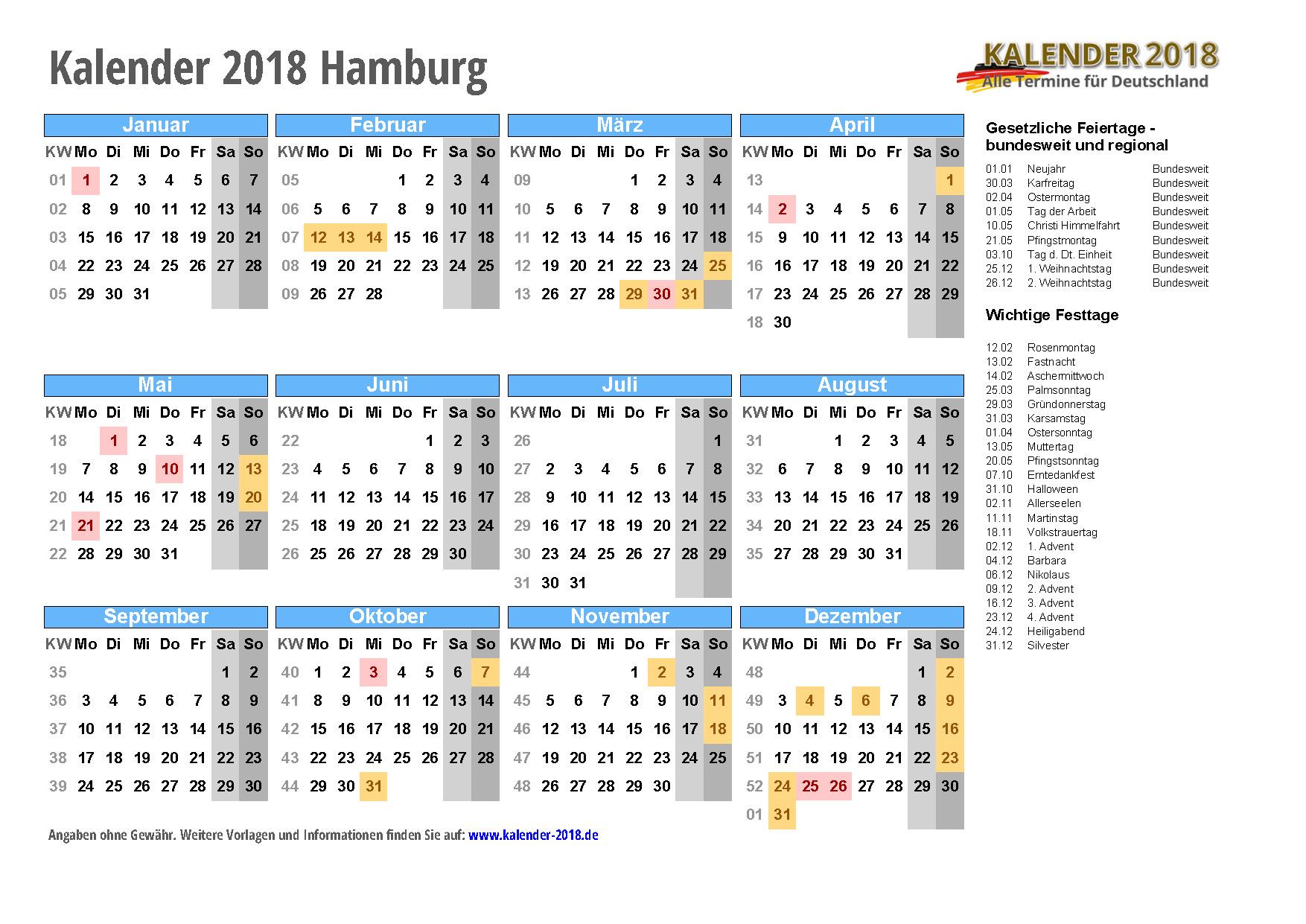 Kalender 2018 Hamburg Zum Ausdrucken Kalender 2018