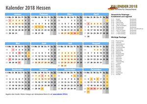 Kalender 2018 Hessen Schulferien