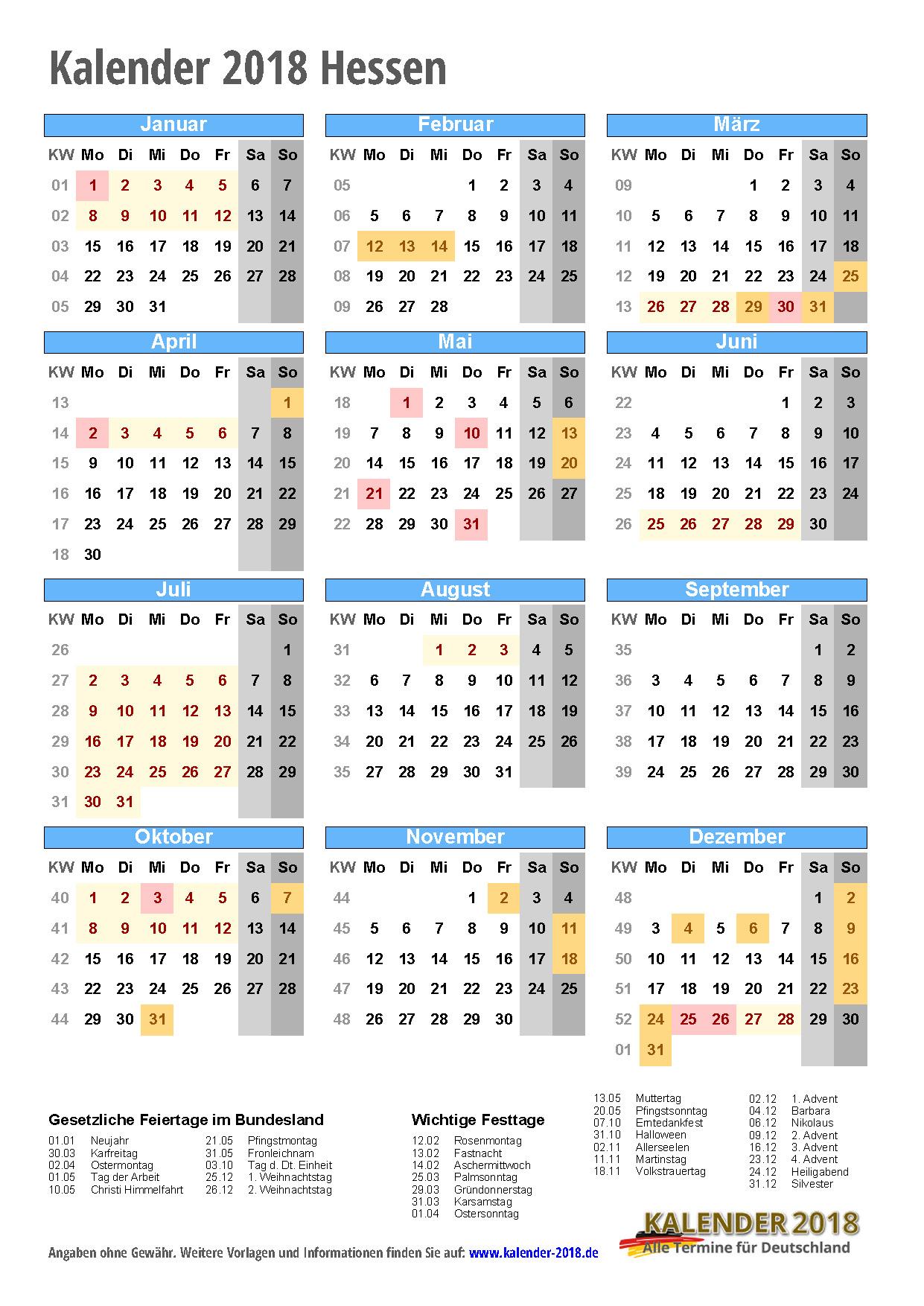 kalender 2018 hessen zum ausdrucken kalender 2018. Black Bedroom Furniture Sets. Home Design Ideas