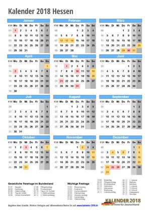 Kalender 2018 Hessen Hochformat
