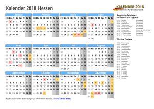 Kalender 2018 Hessen