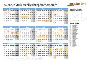 Kalender 2018 Mecklenburg-Vorpommern Schulferien