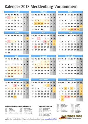 Kalender 2018 Mecklenburg-Vorpommern Hochformat mit Schulferien