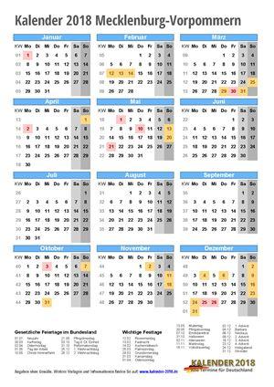 Kalender 2018 Mecklenburg-Vorpommern Hochformat