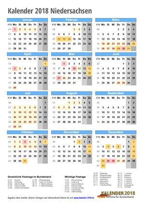 Kalender 2018 Niedersachsen Hochformat mit Schulferien