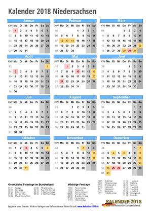 Kalender 2018 Niedersachsen Hochformat