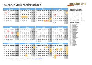 Kalender 2018 Niedersachsen