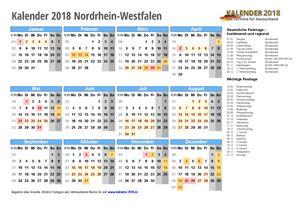 Kalender 2018 NRW Schulferien