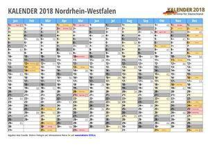 Kalender 2018 NRW Monate mit Schulferien