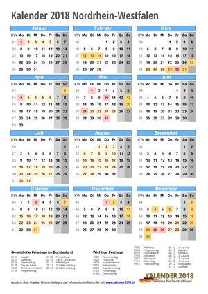 Kalender 2018 NRW Hochformat mit Schulferien