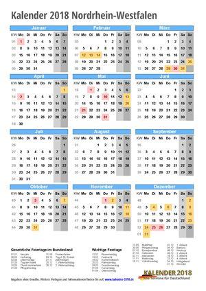 Kalender 2018 NRW Hochformat