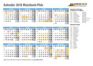 Kalender 2018 Rheinland-Pfalz Schulferien