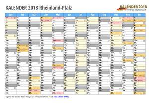 Kalender 2018 Rheinland-Pfalz Monate mit Schulferien