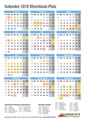 Kalender 2018 Rheinland-Pfalz Hochformat mit Schulferien