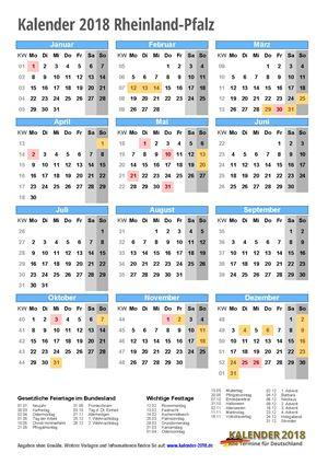 Kalender 2018 Rheinland-Pfalz Hochformat