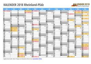 Kalender 2018 Rheinland-Pfalz Monate